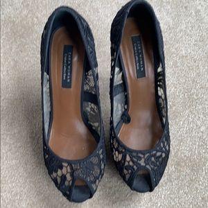 Zara pip toe high heel with wage size 8 I. Black